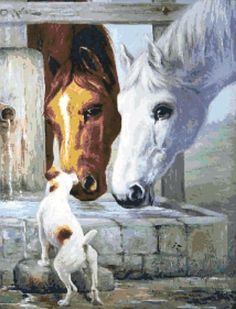 Saying Hello ~ Dogs, Horses ~ Counted Cross Stitch Chart #StoneyKnobFarmHeirlooms