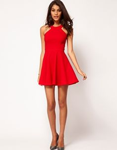 Enlarge ASOS PETITE Exclusive Skater Dress With Popper Straps And Cut Away Detail