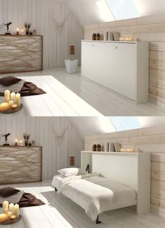 Opklapbed Base spiraal en matras in kast, ruimtebesparend eenpersoons bed info Small Rooms, Small Apartments, Small Spaces, Space Saving Beds, Space Saving Furniture, Cama Murphy Ikea, Murphy Bed Plans, Murphy Beds, Murphy Bed Desk