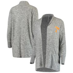Women s chicka-d Heathered Gray Tennessee Volunteers Supersoft Cozy Fleece  Campus Tri-Blend Cardigan Sweater 85d93e743