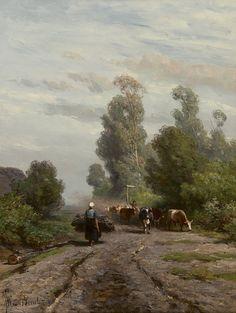 Jan Willem van Borselen (Gouda 1825-1892 Den Haag) Zomerlandschap met koeherder en kudde - Kunsthandel Simonis en Buunk, Ede (Nederland).