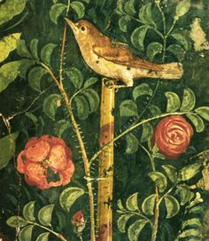 Fragment of garden mural from House of the Golden Cupids in Pompeii: nightingale with roses