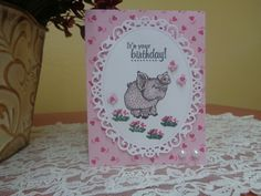 Smiling piggy / butterflies birthday card by LuvinItCREATIONS on Etsy