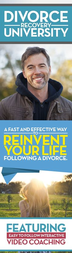 Divorce Recovery University: Learn how to transform from feeling like a failure to having a rock-solid identity. Create new, exciting experiences. Change your life with the '4 Pillars' of divorce recovery. Overcome the pain of being alone. Start doing the things you love doing again. Learn more at http://www.divorcerecoveryuniversity.com.