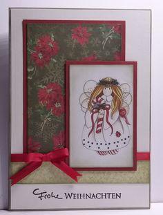 handgefertigte Weihnachtskarte Engelchen Schablonen von Spellbinders, Image von Laurie Furnell. Satinschleife, Stempel