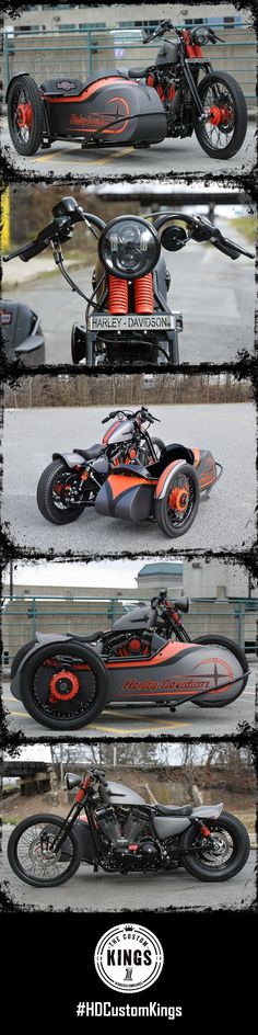 Greensboro Harley-Davidson took a 2016 Seventy-Two and added a sidecar to their aggressive looking masterpiece. | Harley-Davidson #HDCustomKings #harleydavidsonbobberscustomchoppers