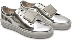 Acne Adriana Metallic sneakers with smiley