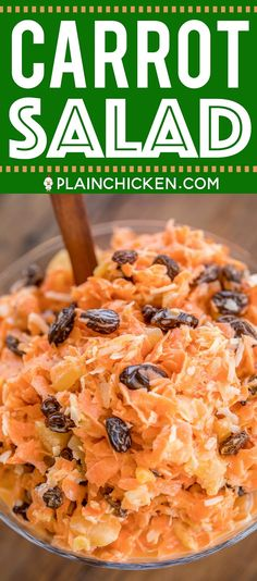 Carrot Salad - an easy and delicious side dish! Only 6 ingredients - carrots, raisins, pineapple, coconut, sugar and mayonnaise. Reminds me of the carrot salad from Chick-fil-a! Great side…More Carrot Salad Recipes, Slaw Recipes, Potluck Recipes, Cooking Recipes, Healthy Recipes, Healthy Nutrition, Sports Nutrition, Healthy Eating, Nutrition Articles
