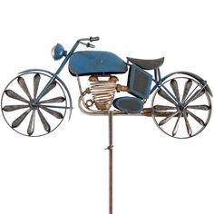 Ideal Motorrad Windrad Gartenstecker Windspiel Biker Blue Metall Garten Blau NEU