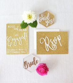 Gold Glitter Invitations for a Glam Engagement Party!