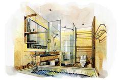 Download Sketch Interior Bath Room Into A Watercolor Stock Illustration - Image: 76935567