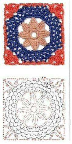 Kate's Crochet World Motifs Granny Square, Granny Square Crochet Pattern, Crochet Diagram, Crochet Chart, Crochet Squares, Love Crochet, Crochet Granny, Crochet Flowers, Crochet Stitches