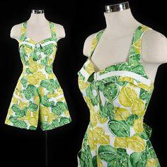 Vintage Summer Outfits, Vintage Dresses, Denim Cotton, Cotton Fabric, Karen Alexander, Lemon Print, Novelty Print, Playsuit, Vintage Fashion
