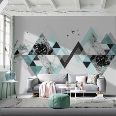 Nordic Personality Art Wallpaper Wall Mural, Office Living Room Bedroom Wall Mural, Hand-painted Creative Geometric Wall Mural Wall Decor – Home office wallpaper Bedroom Wall Designs, Bedroom Murals, Living Room Bedroom, Living Room Decor, Wallpaper Design For Bedroom, Wallpaper Designs For Walls, Geometric Living Room Wallpaper, Wallpaper Ideas, Bedroom Sets