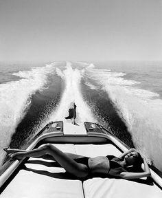 Speedboat Summer | Unknown Source | speedboat | wake | water | ocean | sea | sun | summer | sunbathing | bikini body | glamour | relax | fashion editorial | black & white | white wash |