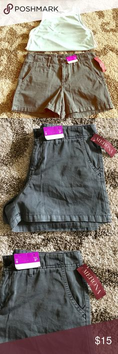 "NWT Merona Chino Shorts NEW! Very classy and stylish Merona shorts! Charcoal grey color; very soft material.  Super neutral and can go with any top! 3"" inseam; so they are just the perfect length.  These would look gorgeous with a patterned or plain t-shirt; tucked in with a belt! Merona Shorts"