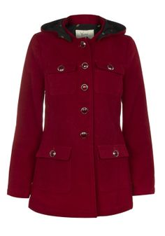 I love this berry red coat, perfect for winter and so uplifting.  Classic Military Coat - Jackets and Coats - Women  @?? ? Direct #pintowin