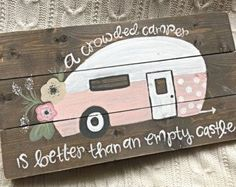 A smaller version of our popular Vintage Camper sign! This sign is approximately 12 x 12 and features stained wood with distressed edges! This