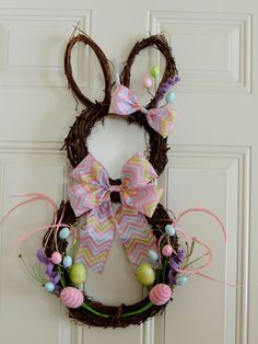 Items similar to Pastel Pink Grapevine Bunny Wreath Grapevine Rabbit Wreath Easter wreath Eggs Easter Door Hanger Decoration Whimsical bunny wreath on Etsy Easter Wreaths, Holiday Wreaths, Chevron Ribbon, Diy Wreath, Wreath Crafts, Wreath Ideas, Bride Flowers, Easter Crafts, Pastel Pink