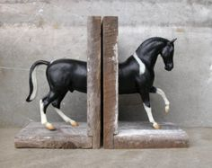 Warmblood Horse Bookend in Black and White