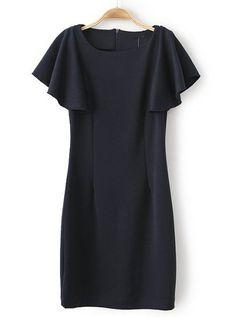Black Ruffle Short Sleeve Slim Bodycon Dress US$26.67