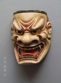 """大獅子(田島滿春作) Noumen """"Ojishi"""" by Tajima Mitsuharu Japanese Noh Mask, Trending Art, Best Mascara, Oriental, Masks Art, Mythical Creatures, Amazing, Sculptures, Skull"""
