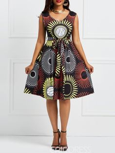african dress styles Ericdress Floral V-Neck Pullover Sleeveless A-Line Dress 13318345 - Short African Dresses, African Fashion Designers, Latest African Fashion Dresses, African Print Fashion, Ankara Fashion, Africa Fashion, African Prints, African Fabric, Short Dresses
