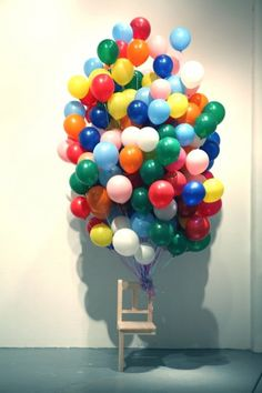 Surrealist sculpture by Myeombeom Kim. #sculpture #balloons #chairs #surreal #floating #conceptual