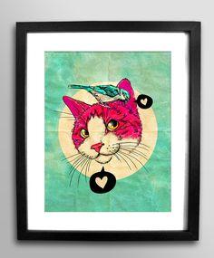 Little Secrets 8x11 print / kitty cat & bird talking by roagui. Riley's room