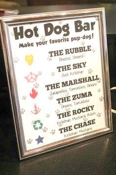Paw Patrol Birthday Party, Hot Dog Bar