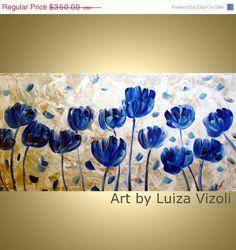 Original Painting BLUE TULIPS Modern Flowers Oil by LUIZAVIZOLI, $315.00