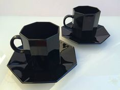Arcoroc Octime French black glass cup & saucer set of 4 Darkest Black Color, Cup And Saucer Set, Black Glass, Coffee Maker, Art Deco, French, Tea, Elegant, Vintage