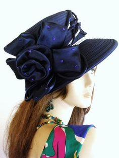 navy blue kentucky derby hats, navy blue satin fabric haute couture hats, black funeral mourning hat, purple, red, ivory, brown, brimmed hat for woman