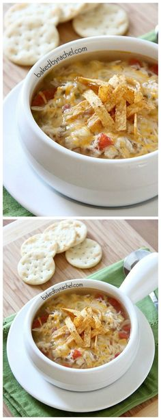 Slow Cooker Chicken Tortilla Soup from Baked by Rachel sounds perfect for a Back-to-School dinner; PIN NOW so you'll have it for soup weather! [featured on Slow Cooker or Pressure Cooker at SlowCookerFromScratch.com]