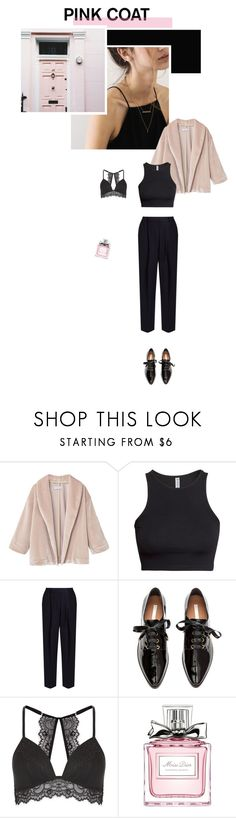 """P I N K & B L A C K"" by byesra ❤ liked on Polyvore featuring MANGO, H&M, Acne Studios, New Look, Christian Dior and Pink"
