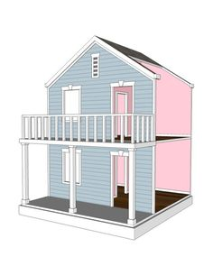 Doll House Plans For American Girl Or 18 Inch Dolls - 4 Room Side Play - Not…