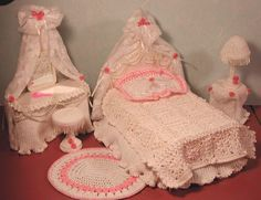 CROCHET FASHION DOLL PATTERN-ICS DESIGNS-9 BRIDAL BOUDOIR #ICSORITINALDESIGNS