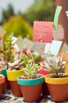 Potted Plant Table Numbers, preston bailey, bride ideas