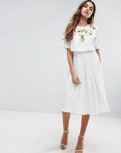 Декорированное приталенное платье миди с кроп-топом ASOS