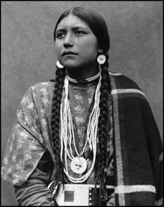 "Absolutely stunning portrait of Dakota woman, ""Princess Eat No Meat."" This beautiful photograph was taken between 1880 and 1910."