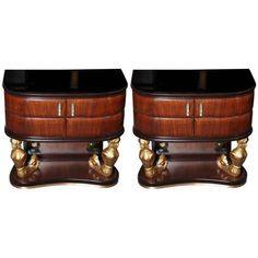 Pair of rosewood night stands made in Milan and designed by Dassi in 1940.