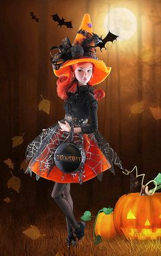 Orange Witch by Gwendolyns Treasures, Barbie Halloween, Halloween Fun, Halloween Witches, Vintage Halloween, Halloween Makeup, Ooak Dolls, Art Dolls, Barbie Costume, Costume Makeup