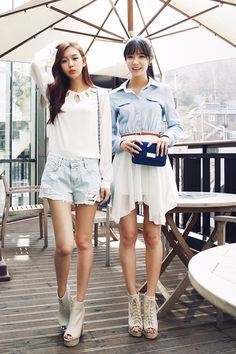 White to with denim destroyed shorts and heels# cute# street style# Korean fashion GG's tiny times ♥