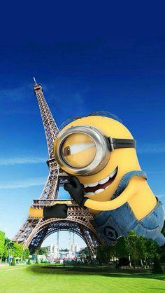 Minions in Paris - minions. Minion Banana, Minion S, Cute Minions, Minions Despicable Me, Funny Minion, Cartoon Wallpaper, Disney Wallpaper, Minion Wallpaper Hd, Hd Wallpaper Iphone