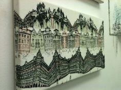 Screen printed and machine stitched architecture in Prague, Embroidered Architecture - Harriet Popham Textiles