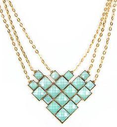 Gold/Mint Diamond Shape Statement Necklace
