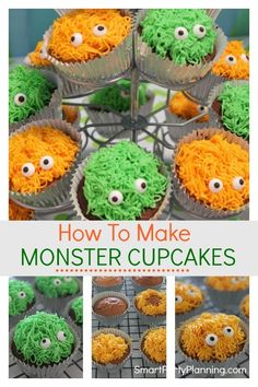 Learn how to make these adorable monster cupcakes. They are easy to make for either a birthday or Halloween party. With a simple piping technique and some cute little candy eyes, the kids are going to love them. Monster Cupcakes, Monster Party, Monster Smash Cakes, Halloween Cupcakes, Birthday Cupcakes, Halloween Treats, Halloween Party, Halloween Goodies, Halloween Desserts