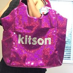 Kitson Sequined Tote Bag Pink NWT Kitson Pink Sequined Tote Bag Kitson Bags Totes