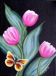 Easy Canvas Painting, Spring Painting, Fabric Painting, Painting & Drawing, Canvas Art, Butterfly Painting, Butterfly Art, Flower Art, Butterflies