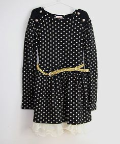 Look what I found on #zulily! Black Dot Belted Dress - Toddler & Girls by Designs by Meghna #zulilyfinds
